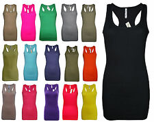 Womens B.C Long Vest Tank Top Ribbed Lycra STRETCH Size 6 to 24 Ladies