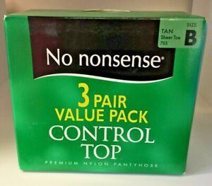 No Nonsense Control Top 3 Pair Value Pack Pantyhose Tan Sheer Toe Size B New (*)