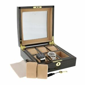 Superb Quality Macassar Wood Finish Watch Box for 6 watches Glass top by Aevitas