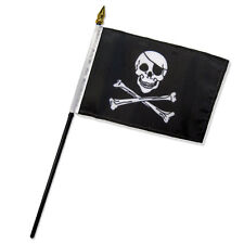 "Wholesale Lot of 12 Jolly Roger Pirate Patch 4""x6"" Desk Table Stick Flag"