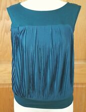 Ann Taylor Loft Women's Sleeveless Green Pleated Front Shirt Size XS