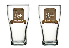 Ned Kelly Memorabilia  Schooner Glasses / Ned Kelly Beer glasses set of 2