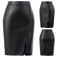 Womens Black PU Leather Zipper Decor Party Club Dress Bodycon Short Pencil Skirt