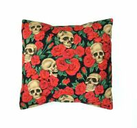 Hemet Clothing Black SKULL & RED ROSES Couch throw Pillow Case Envelop NEW