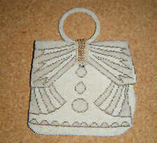 vintage glass bead`s purse / clutch purse with loop ring, Made in Czechoslovakia