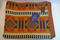 "New Pendleton Jacquard Throw - Copper - 68"" x 57"" Blanket Cotton Wool Brown Blue"