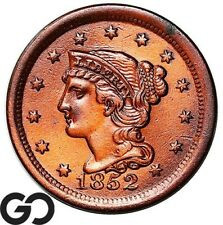 1852 Large Cent, Braided Hair, Very Lustrous