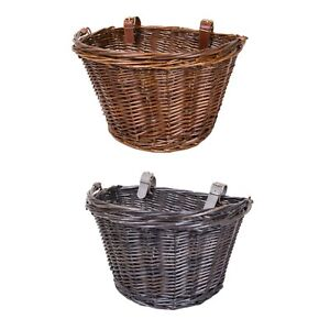 Bicycle Wicker Shopping Basket with Metal Carry Handle