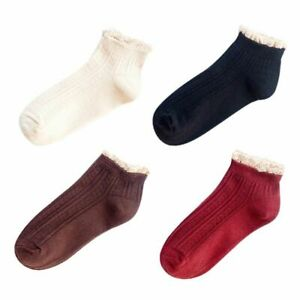 4 Pairs Womens Ruffle Socks Lace Frilly Cute Cotton Breathable Ankle Low Cut