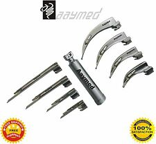 Laryngoscope Mac + Miller Set of 8 BLADES & 1 HANDLES EMT Anesthesia Intubation