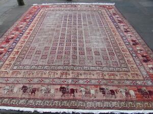 Vintage Worn Traditional Hand Made Oriental Red Silk Large Somak Kilim 375x305cm
