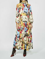 ZARA NEW WOMAN CAMPAIGN LONG PRINTED DRESS BELT FLARED HEM