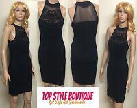 Ladies Womens Lace Mesh Insert Turtle Neck Sleeveless Black Bodycon Midi Dress