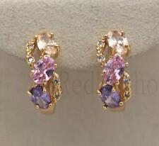 18K Gold Filled - Zircon Amethyst Morganite Pink Quartz Multilayer Hoop Earrings
