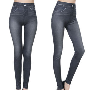 Damen F?lschung Jeans Jeansoptik Stretch Leggings Jeggings Hohe Taille Hoser DE