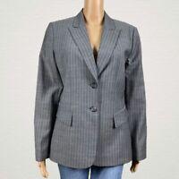 Tahari Arthur S. Levine Pin Stripe Career Suit Blazer Jacket Size 10 Gray Blue