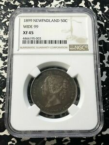 1899 Newfoundland 50 Cents Wide '99' NGC XF45 Lot#G241 Silver!