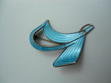 VINTAGE NORWEGIAN SILVER BLUE GUILLOCHE ENAMEL BROOCH/PIN (Ivar T. Holth)