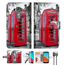 British phone Booth Wallet TPU Case Cover For LG G4-- A025