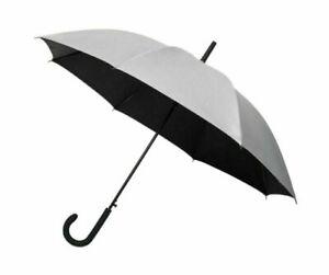 Automatic Golf Umbrella with Rain & UV Sun Protection Silver & Black Canopy