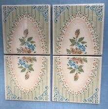 "4 Mexico 4.25"" Dal Tile 32-2/3 DalTile Lacy Floral Rose Sage Grn Blue Reclaimed"
