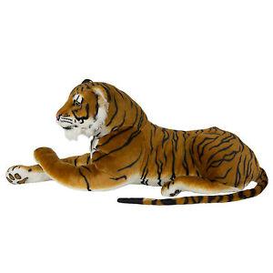 Large Tiger Plush Toy Animal Realistic Stuffed  Pillow Bengal Big Soft TOYS