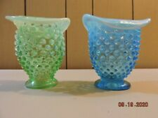 2 Fenton hobnail opalescent hobnail small hat vases in mint condition