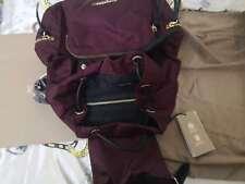 Genuine Burberry Women's Burgundy red  Medium functional nylon leather backpack