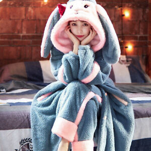Winter 2020 Flannel Pajama Set Female Animal Warm Cute Long Sleeve Pajamas