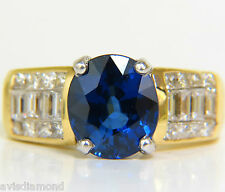 █$15000 GIA  4.93CT NATURAL TOP GEM SAPPHIRE DIAMOND RING CLASSIC SET