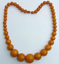 "Art Deco Butterscotch Amber Bakelite Graduating Bead Necklace, 19 1/2"", 52.4g"