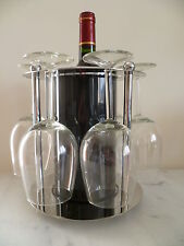 CHROMIUM PLATED METAL WITH BLACK PLASTIC HOLDER, FOR A WINE BOTTLE AND 6 GLASSES