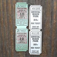 10 Vintage Original CRYSTAL BEACH Amusement Park Unused Tickets NOS 1970s