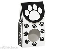 6 Black White Polka Dot Dog Cat Paws Print Candy Treat Gourmet Food Window Boxes
