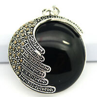 35X35mm Black Agate Round Stone Marcasite 925 Sterling Silver Necklace Pendant