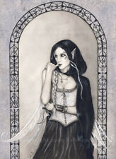 FAIRY Gothic Art ORIGINAL PAINTING Gray Assassin Knife Gray Black Pale Dark WC