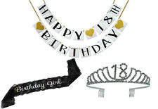 18th Birthday Party Supplies and Decorations Pack - Sash, Tiara, and Banner
