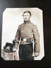Civil War Military Union Soldier Saber Hardee Hat  tintype C741RP