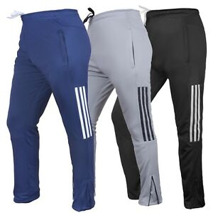 Mens Gym Slim Fit Trousers Tracksuit Bottoms Skinny Joggers Sweat zip pockets
