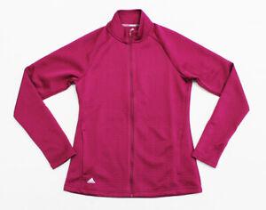 NWT ADIDAS Women's Textured Power-Berry Herringbone Track Running Golf Jacket