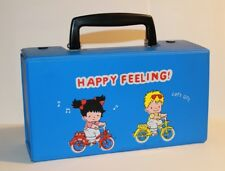 Vintage 1970s Happy Feeling! Blue Vinyl Cassette Sweet Cute Mini Carry Case