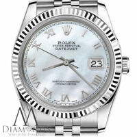 Genuine Rolex 31mm Datejust White MOP Mother Of Pearl Roman Numeral Dial Watch