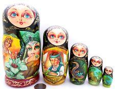 5 Muñecas De Anidación matryoshka ruso Piedra Flor Amante De Cobre Regalo de montaña