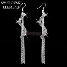 boucles d'oreilles multiples chaînettes Swarovski® Elements plaqué argent luxe