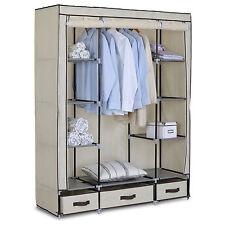 Kleiderschrank Garderobenschrank Regal mit Schubladen Lagerregal creme Ss5020cm