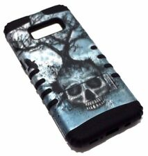 For Samsung Galaxy S8 Skull Tree Crow Black Rubber Hybrid Armor Skin Case Cover