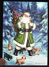 Christmas Santa Playing Puppies Dogs Kittens Cat Toys Snow  Greeting Card - NEW