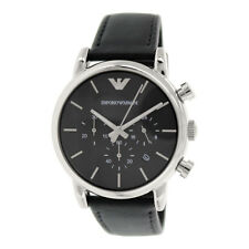 Emporio Armani AR1733 Classic Chronograph Black Dial Leather Mens Watch