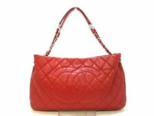 Auth CHANEL Matelasse Red Caviar Skin Tote Bag