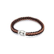 Fred Bennett Bracelet Stainless Steel and Brown Leather Cord Bracelet B4737